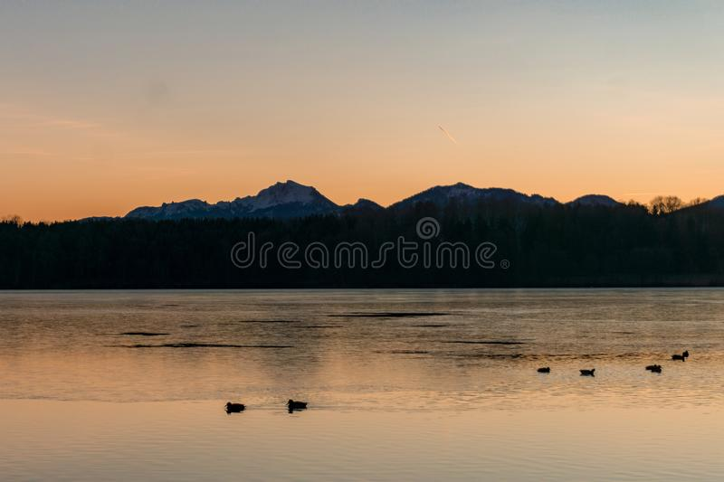 Bright morning sky at the lake side royalty free stock photos