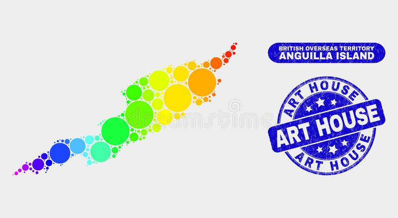 Bright Mosaic Anguilla Island Map and Distress Art House Stamp Seal. Rainbow colored dotted Anguilla Island map and watermarks. Blue rounded Art House textured vector illustration