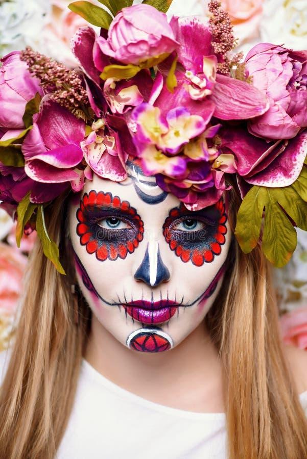 Bright muertos makeup stock images
