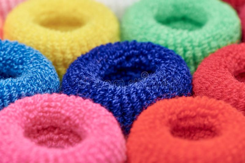 Bright multi-colored soft scrunchy close-up royalty free stock photography