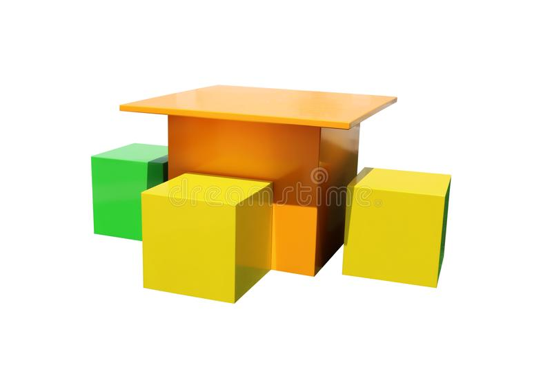 Bright multicolor children`s table and chairs isolated on white background. stock photo