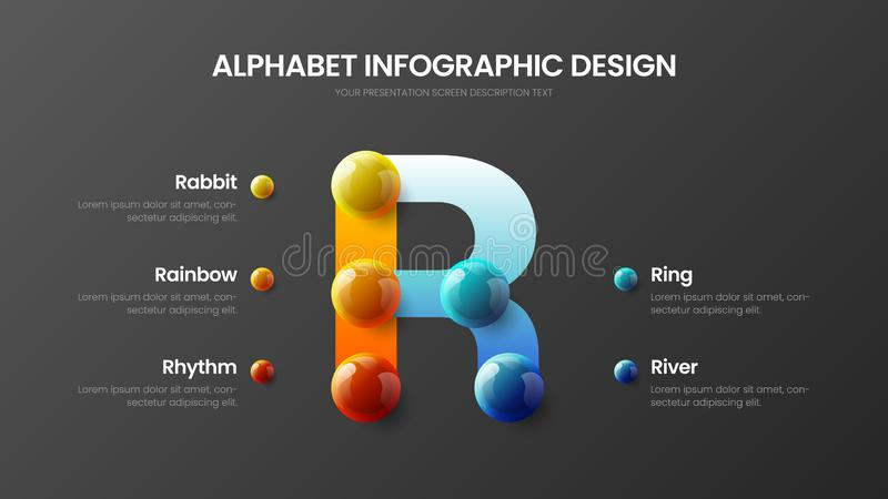 Bright multicolor R character design illustration vector alphabet 5 option infographic royalty free illustration