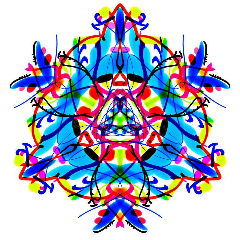 The bright Multicolor triangular pattern. Painted mandala. royalty free illustration