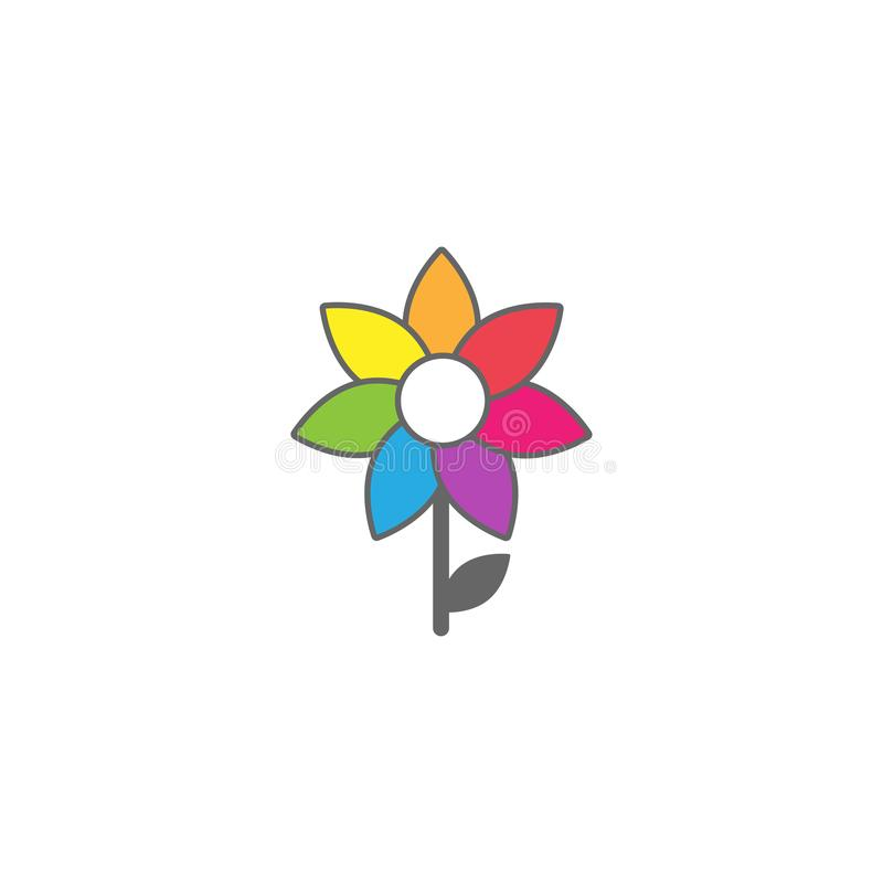 Bright multicolored sunflower with grey outline and little stem and leaf. flat icon. Bloom royalty free illustration