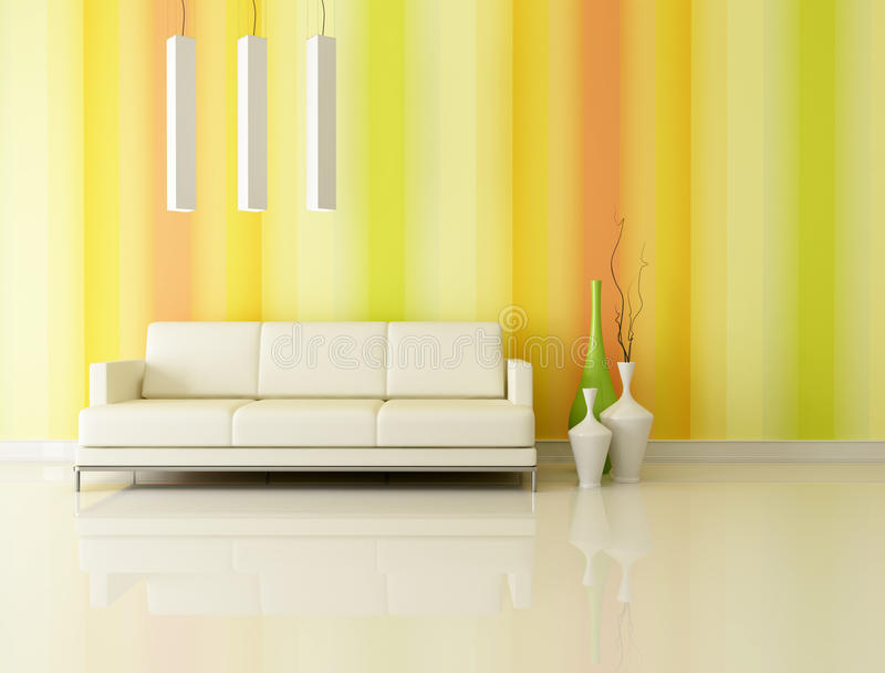 Bright and multicolr living room stock photography