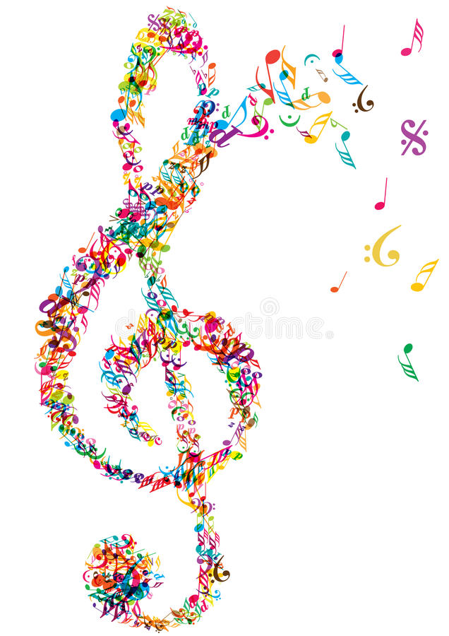 bright music notes clef stock vector illustration of