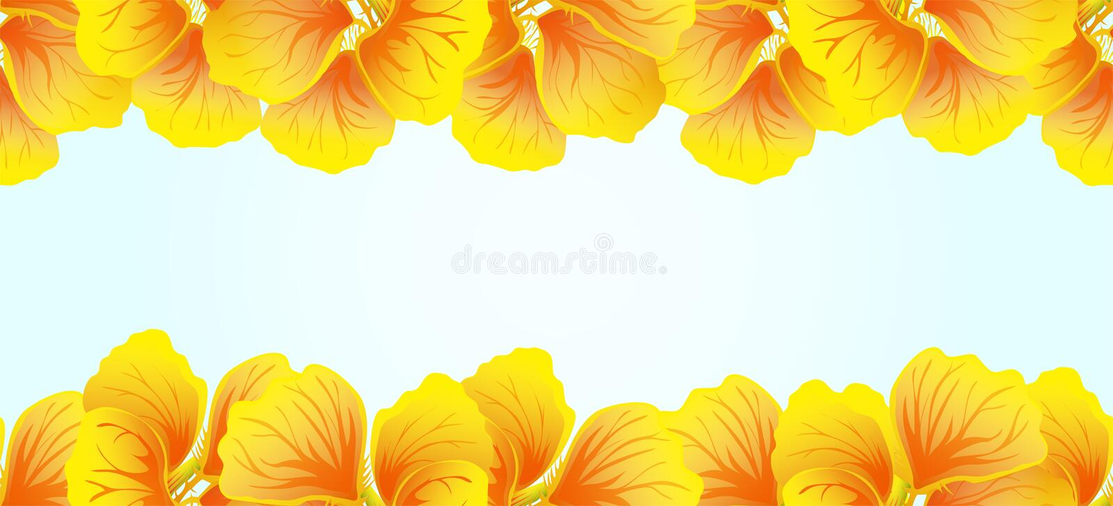 Bright Nasturtium Seamless border. Yellow flowers. Beautiful Horizontal banner. Blue background. Card, invitation, poster vector illustration