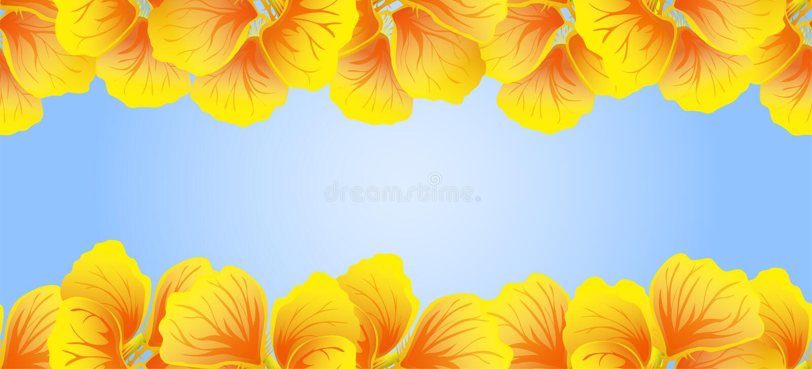 Bright Nasturtium Seamless border. Yellow flowers. Beautiful Horizontal banner. Blue background. Card, invitation, poster royalty free illustration