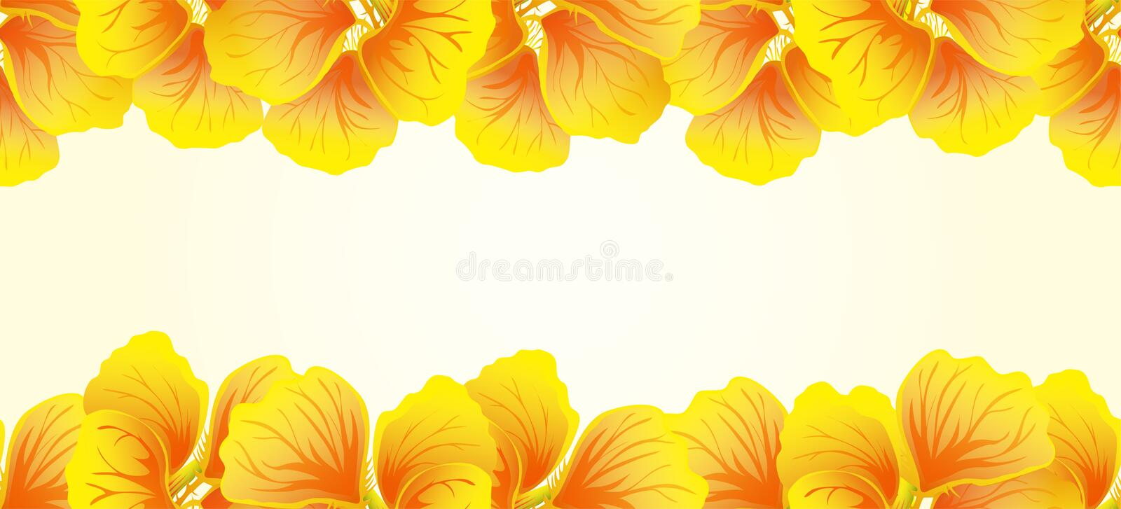 Bright Nasturtium Seamless border. Yellow flowers. Beautiful Horizontal banner. Light background. Card, invitation, poster. Greeting design. Vector royalty free illustration