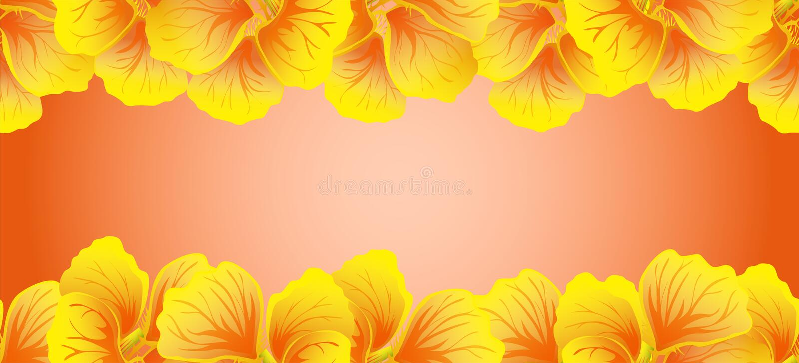 Bright Nasturtium Seamless border. Yellow flowers. Beautiful Horizontal banner. Red background. Card, invitation, poster, greeting. Design. Vector illustration royalty free illustration
