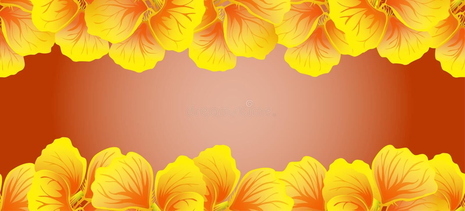 Bright Nasturtium Seamless border. Yellow flowers. Beautiful Horizontal banner. Red background. Card, invitation, poster, stock illustration