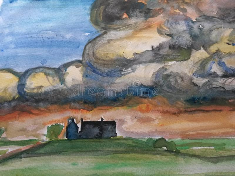 Painting of a landscape during rainstorm stock photos