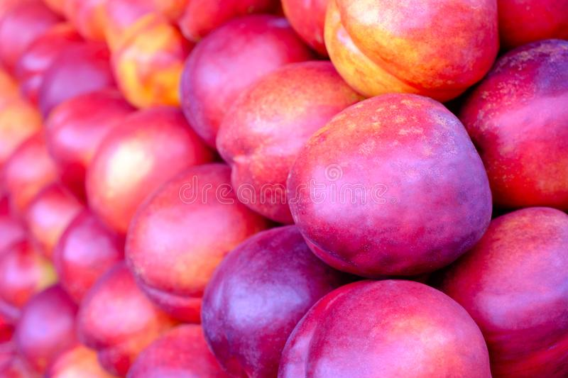 Bright nectarines in the market, Healthy agriculture concept.  royalty free stock image