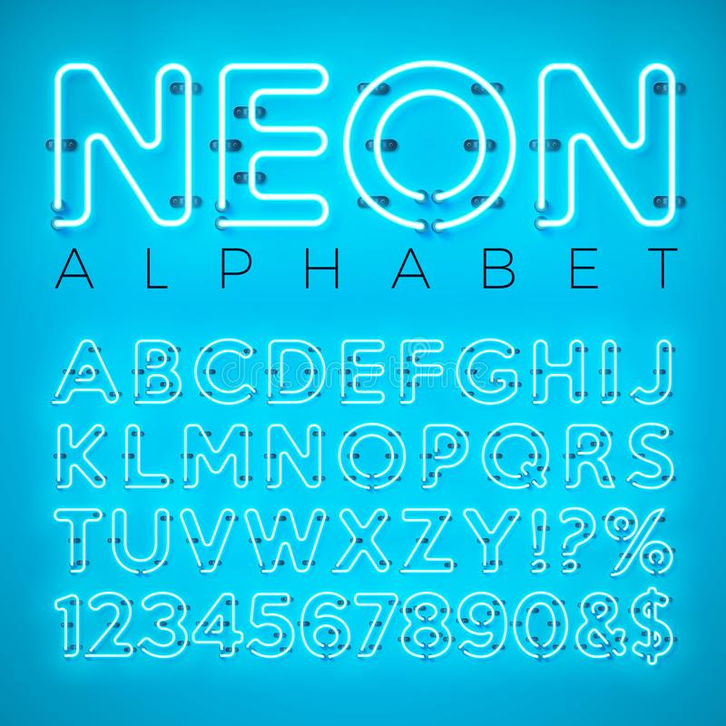 Bright Neon Alphabet on Blue Background. Vector Letter, Number and Symbol with Shiny Glow Effect Layered Separated vector illustration