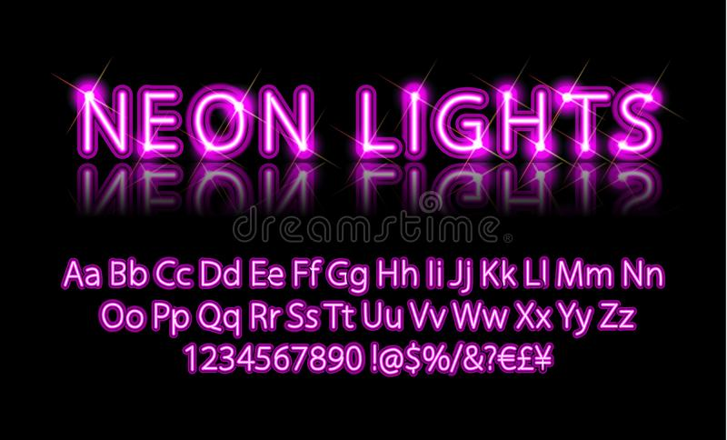 Bright Neon Alphabet Letter Pink. Neon lights. Bright Neon Alphabet Letters, Numbers and Symbols Sign in Vector. Night Show. Night Club royalty free illustration