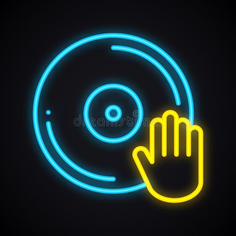 Bright neon disco sign. Glowing dancing party symbol. Club, vinyl, music, nightlife, DJ theme. Bright neon disco sign. Glowing dancing party symbol. Club, vinyl royalty free illustration