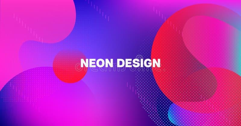 Bright Neon Gradient Overlay Futuristic Vector Pattern. Simple Main Web Page Design. Fluid Color Retro Tech Glitch Circles Cover vector illustration