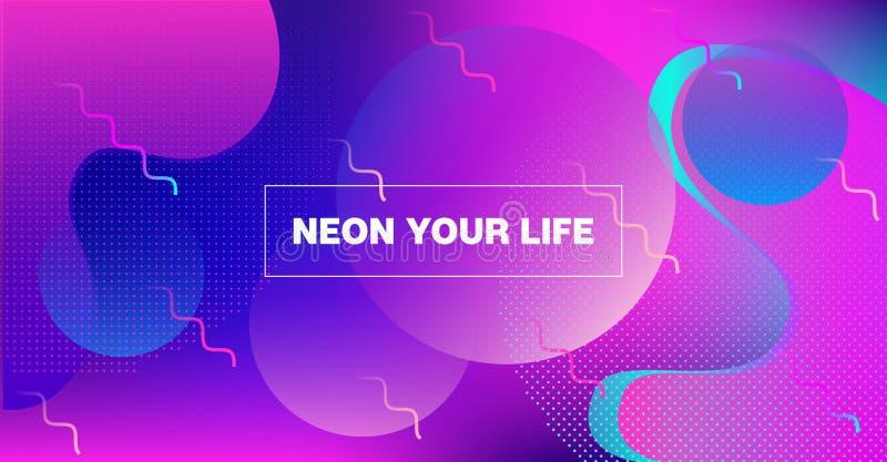 Bright Neon Gradient Overlay Futuristic Vector Pattern. Web Page Iridescent Design. Fluid Color Retro Tech Glitch Circles Cover. vector illustration