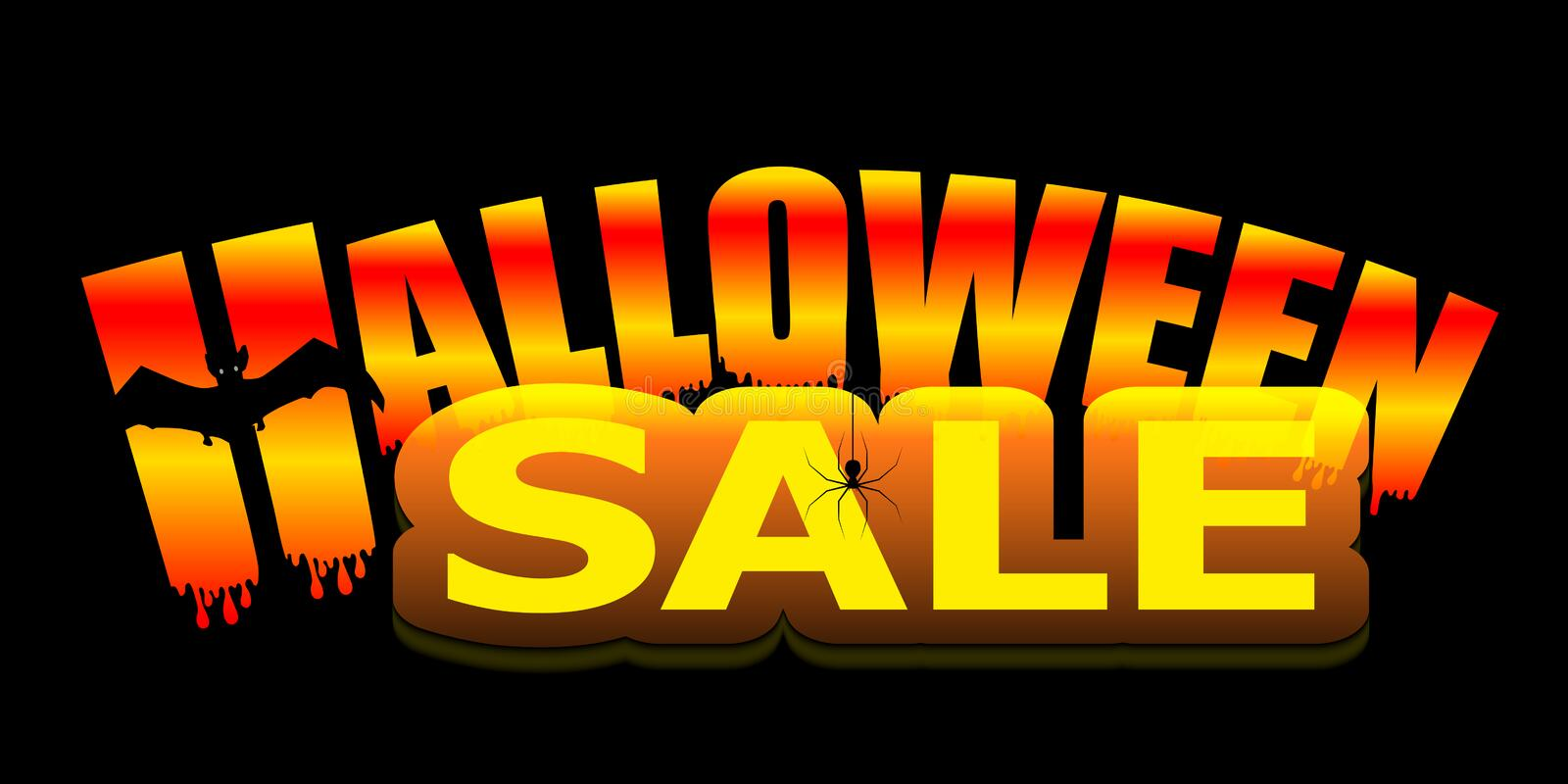 Bright neon Halloween Sale text banner with bat and spider isolated on black background. Vector royalty free illustration