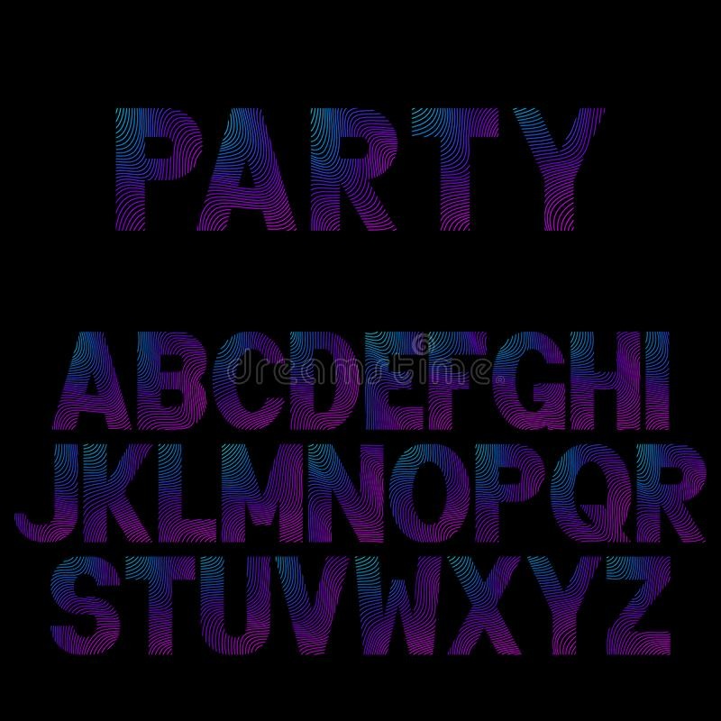 Bright neon letters for Musical Flyer, Night Party poster. Bright neon alphabet. Font for Musical Flyer, Night Party poster or Club Invitation stock illustration