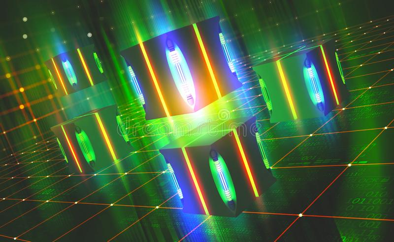 Bright neon light. Quantum processor concept. Blockchain technology in virtual cyberspace. 3D illustration on a tech background with binary code elements stock illustration