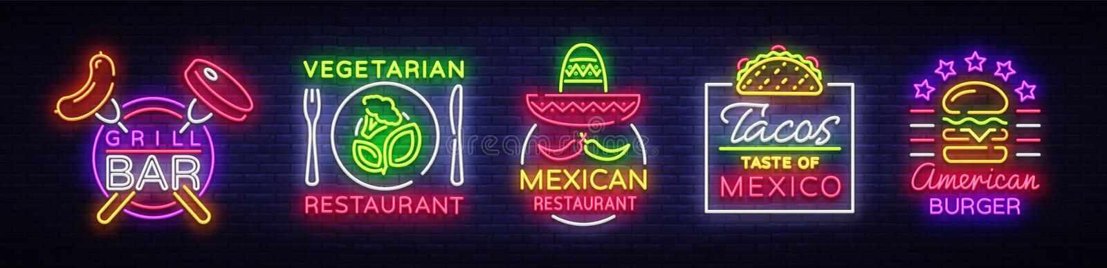 Bright neon symbols for food. Collection Design Elements, Neon Signs for Food, Grill Bar, Vegetarian Food, Mexican vector illustration
