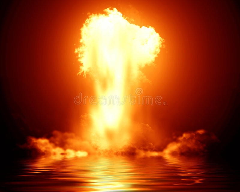 Bright nuclear explosion. With reflection royalty free illustration