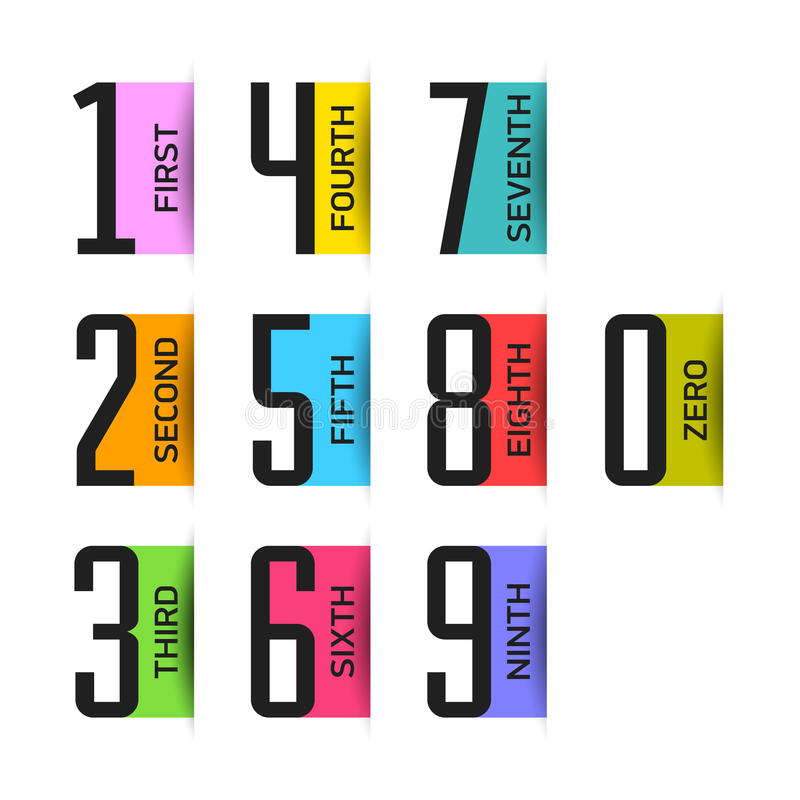 Bright numbers set vector illustration
