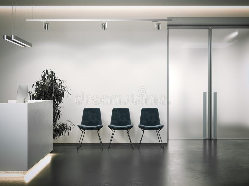 Bright office reception with waiting area. 3d rendering stock photos