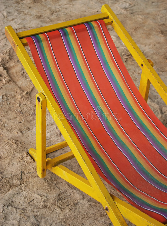 Bright old deck chair royalty free stock photos