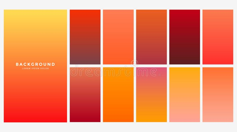 Bright orange autumn color gradients set royalty free illustration
