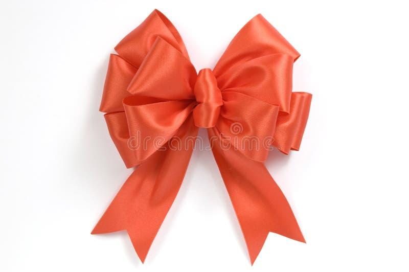 Bright Orange Bow Or Ribbon stock image