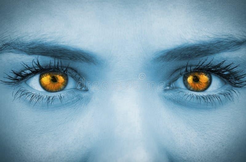 Bright orange eyes on female face stock photo