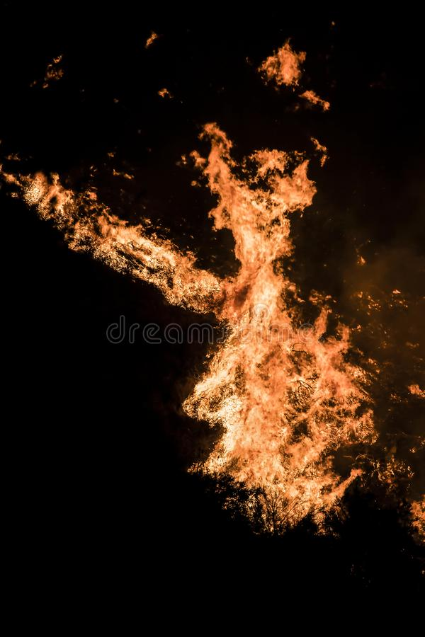 Close Up Detail Flames Twisting at Night during California Fire. Bright orange flames twisting at night during California Woolsey fire creating shapes against stock image