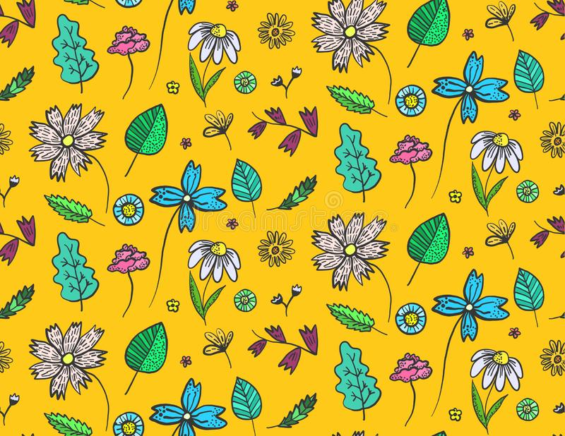 Bright orange floral pattern with doodle flowers royalty free illustration