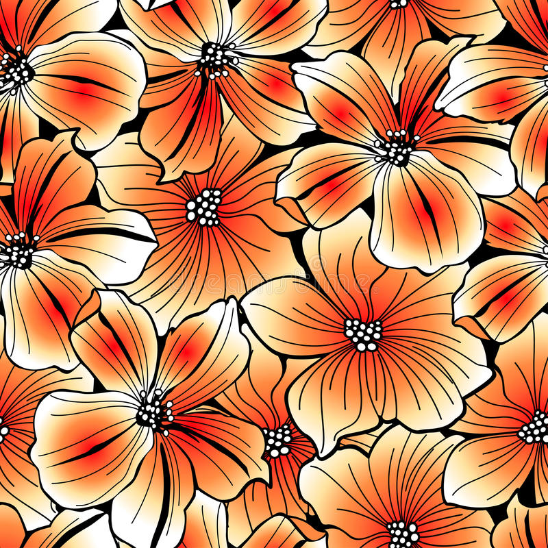 Free Bright Orange Graphic Hibiscus Seamless Pattern Royalty Free Stock Photography - 71570577