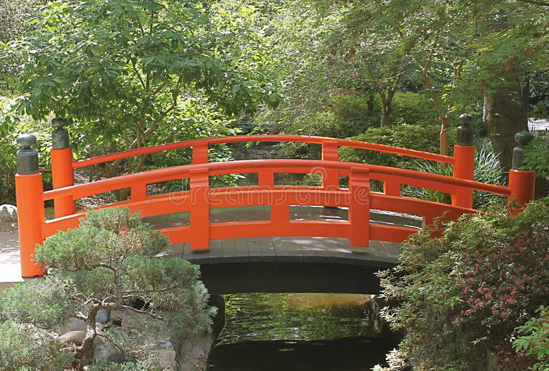 Bright Orange Red Japanese Bridge at Descanso Gardens stock image