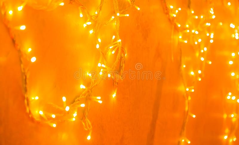 Bright Orange LED Fairy Lights for a Christmas Party or Halloween Event stock photos