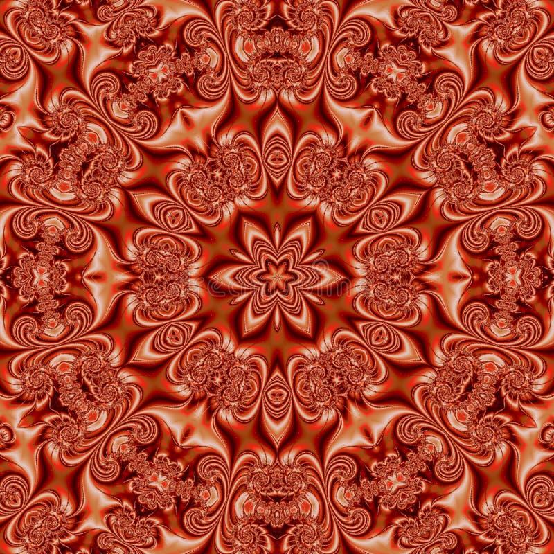 Bright orange mandala, red and orange kaleidoscope effect silk stock photography