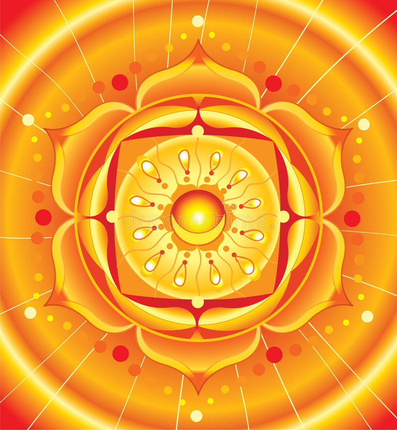 Bright orange mandala of svadhisthana chakra vector illustration