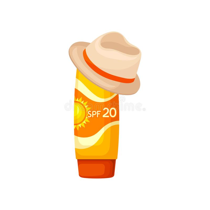 Bright orange plastic tube of sunscreen and brown hat. Lotion for skin protection. Solar defense. Cosmetic product. Flat royalty free illustration