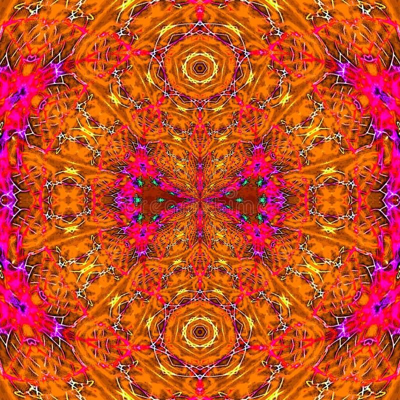 Abstract bright orange and red arabesque mandala royalty free illustration