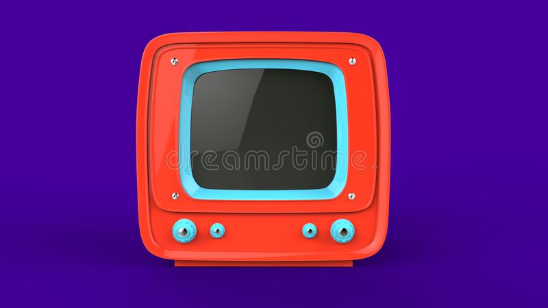 Bright orange retro TV set vector illustration