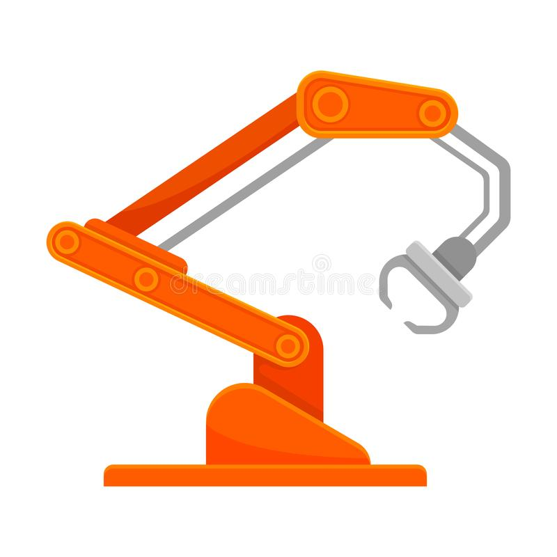 Bright orange robotic arm with an open claw. Vector illustration on white background. vector illustration