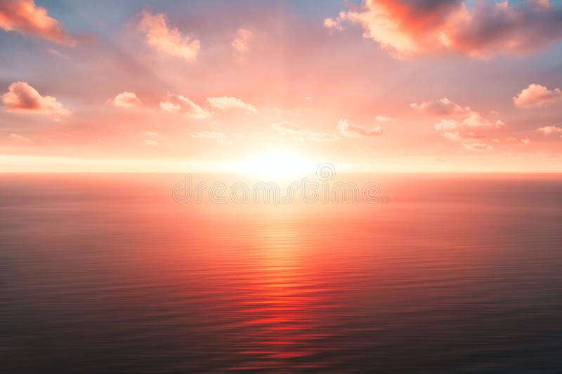 Bright orange sky and light of the sun. Sky background on sunset. Nature composition. Panoramic sunset sky background. Sunrise sky. With lighted clouds. Beauty stock photo
