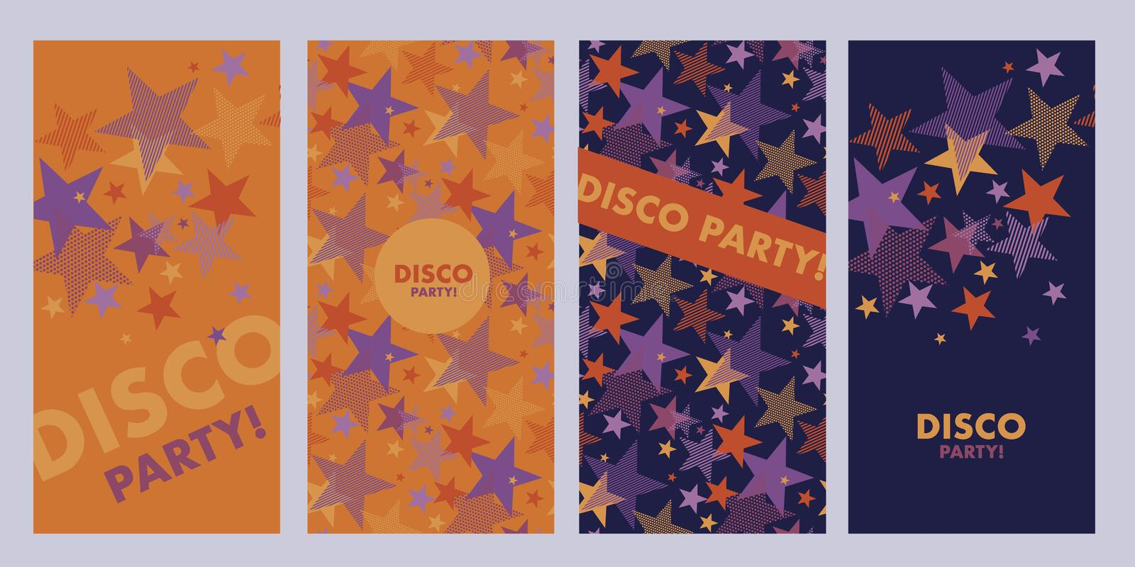 Bright orange and violet star poster templates stock illustration