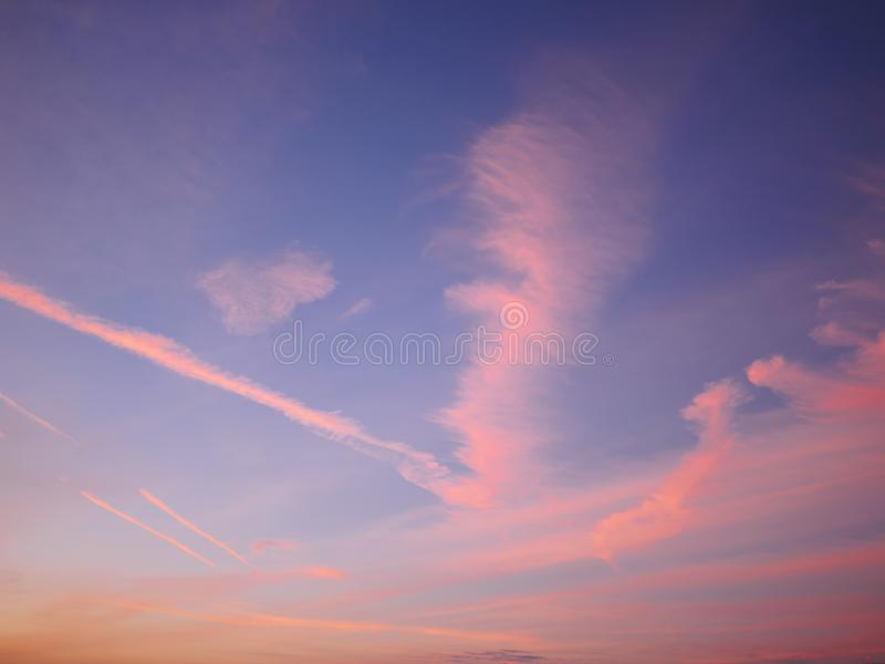 Bright orange and yellow colors sunset sky.  stock photo