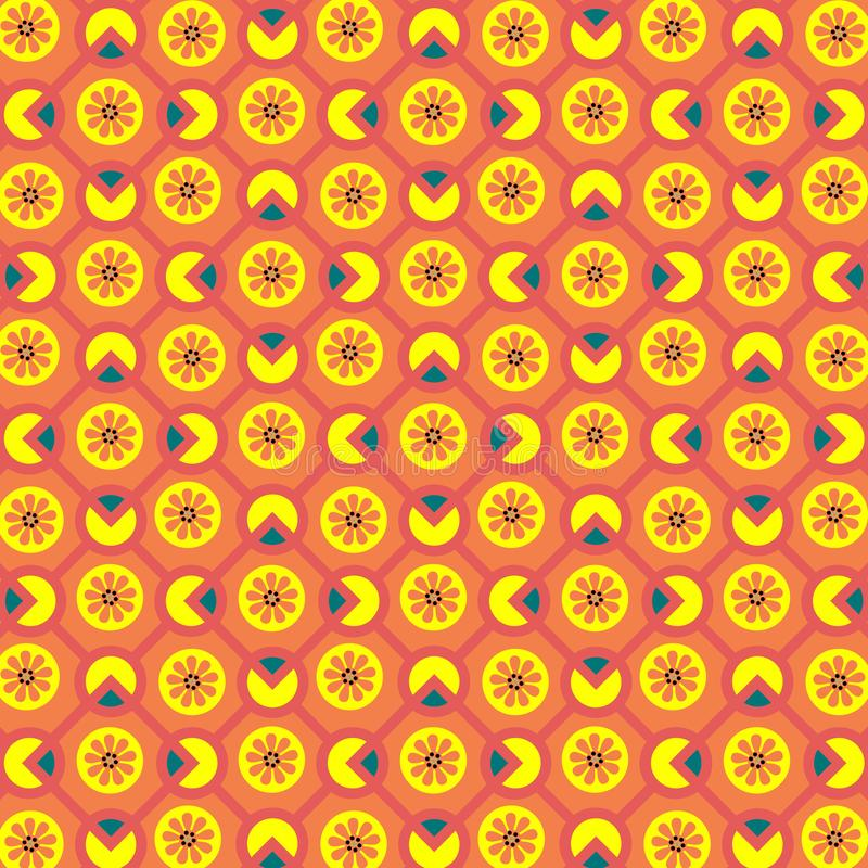 Bright orange, yellow and red geometric pattern with rhombuses, piecharts, and floral elements stock illustration