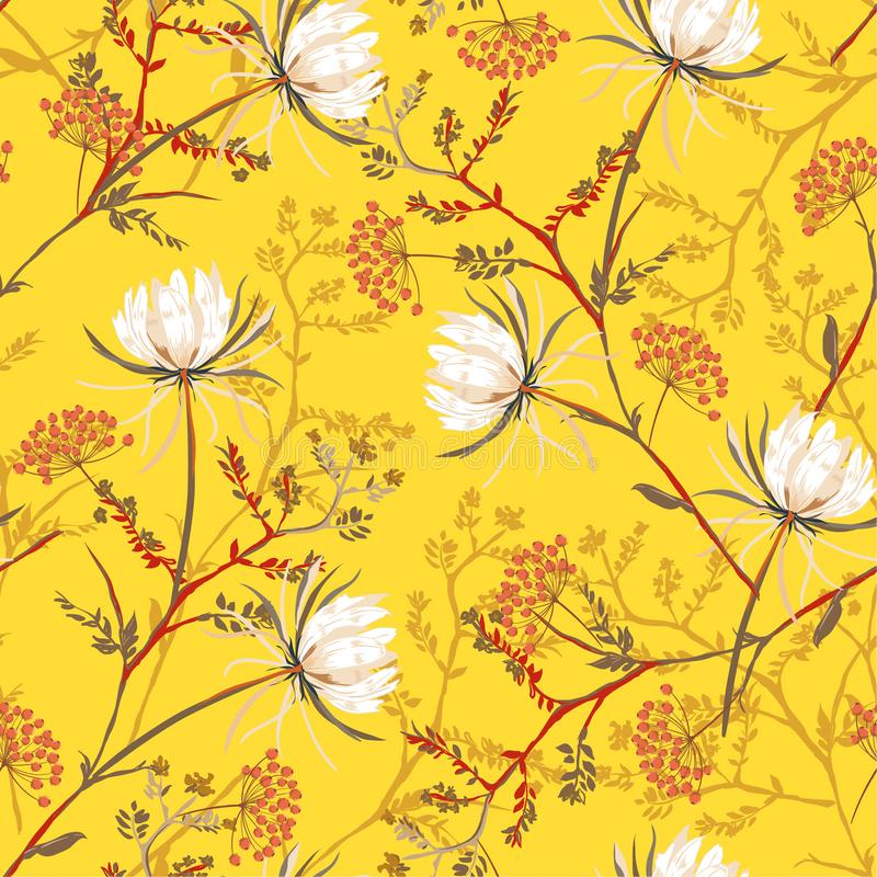 Bright oriental Seamless pattern of white soft and graceful blo. Oming flowers,botanical vector design for fashion,fabric,wallpaper,and all prints on bright stock illustration
