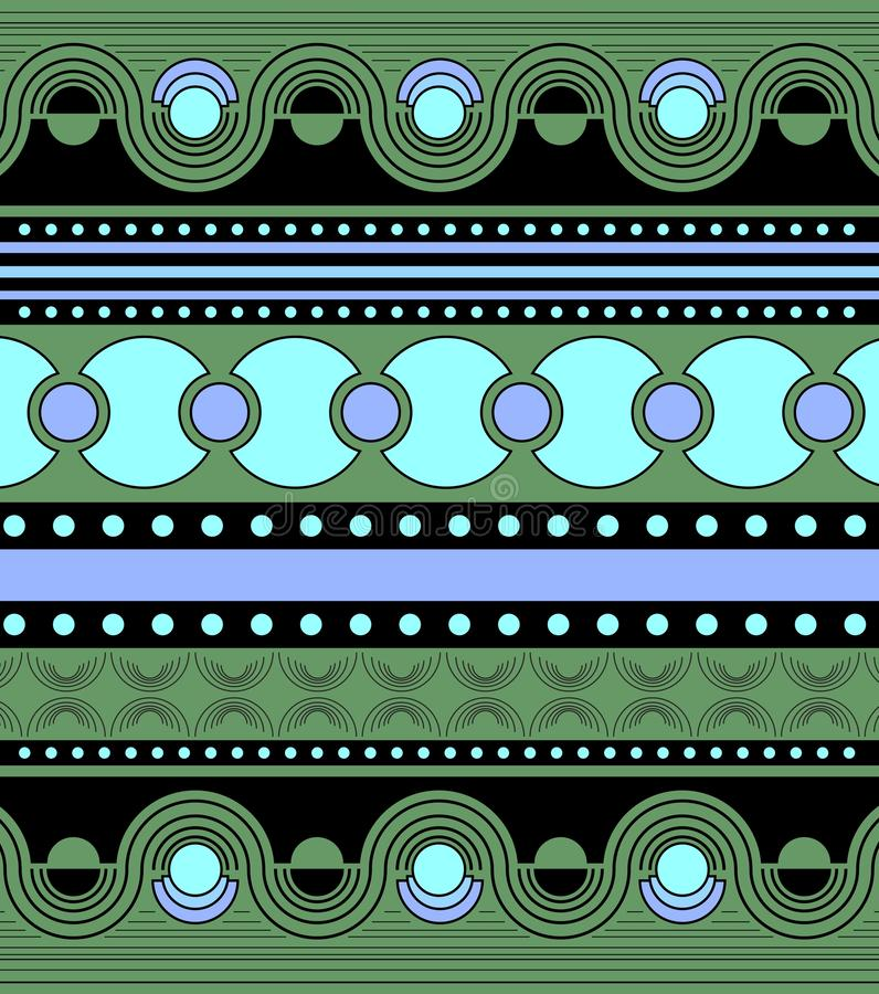 Bright ornament in green colors. Horizontal waves, lines, dots and circles in rows, symmetry of a geometric pattern. Bright ornament in green colors. Horizontal stock illustration